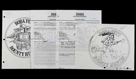 Lot # 163 - Boba Fett Coin Sign Off Sheets