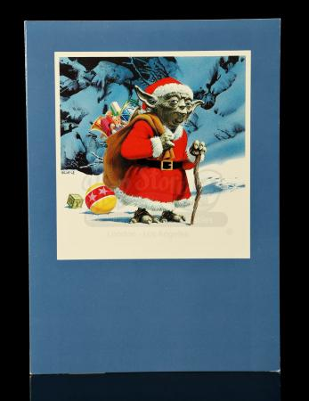 Lot # 734 - Lucasfilm Christmas Card With Yoda As Santa Claus