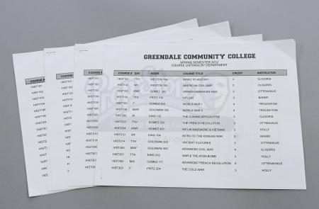 "Lot # 45 - S3E18 - ""Course Listing Unavailable"": Four Dean Pelton (Jim Rash) Semester Course Lists & Syllabi"