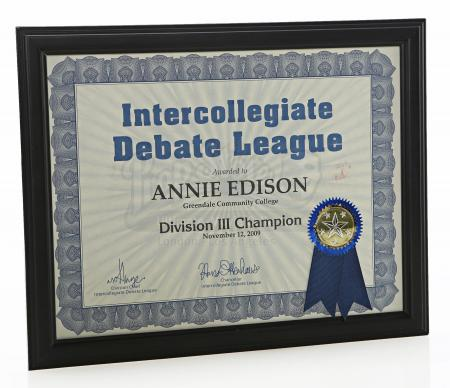 "Lot # 47 - S3E07 - ""Studies in Modern Movement"": Annie's (as portrayed by Alison Brie) ""Intercollegiate Debate League"" Award"