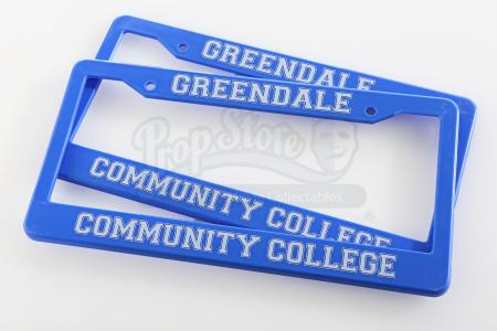 Lot # 122 - Various Episodes: Two Greendale Community College License Plate Frames