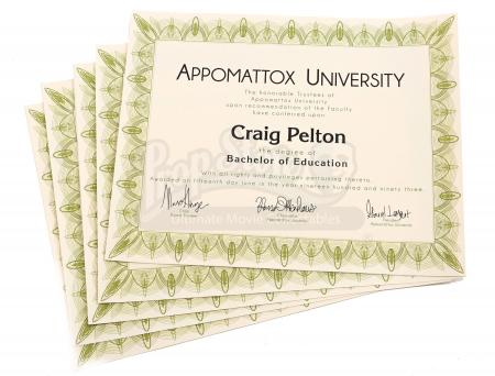 Lot # 125 - Various Episodes: Five Craig Pelton (as portrayed by Jim Rash) Bachelor Degrees