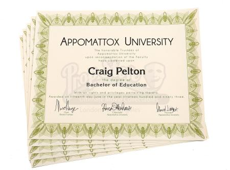 Lot # 130 - Various Episodes: Five Craig Pelton (as portrayed by Jim Rash) Bachelor Degrees