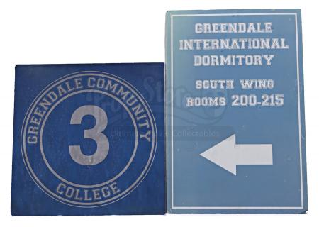 Lot # 135 - Various Episodes: Two Greendale Community College Signs