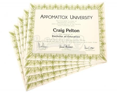 Lot # 138 - Various Episodes: Five Craig Pelton (as portrayed by Jim Rash) Bachelor Degrees