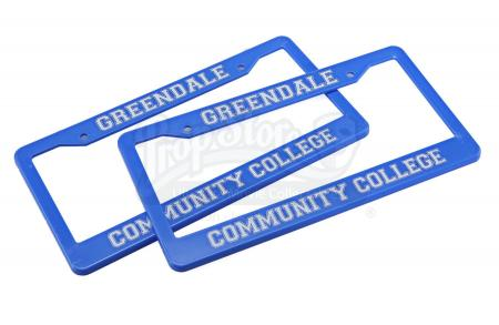 Lot # 144 - Various Episodes: Two Greendale Community College License Plate Frames