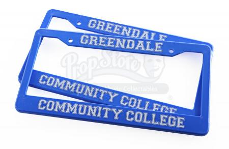 Lot # 157 - Various Episodes: Two Greendale Community College License Plate Frames
