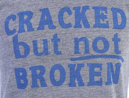 "Lot # 162 - S5E03 - ""Basic Intergluteal Numismatical"": Two ""Cracked But Not Broken"" T-Shirts"