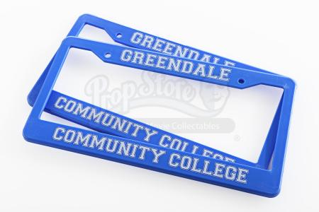 Lot # 166 - Various Episodes: Two Greendale Community College License Plate Frames