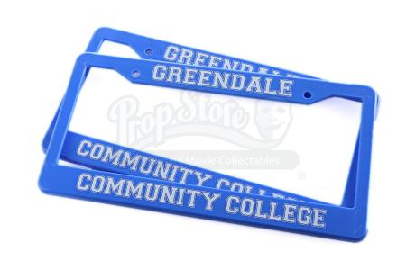Lot # 189 - Various Episodes: Two Greendale Community College License Plate Frames