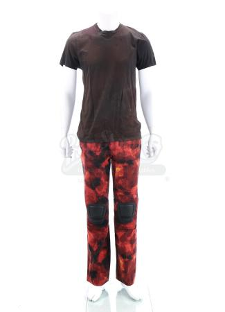"Lot # 291 - The Divergent Series: Allegiant (2016): Tobias ""Four"" Eaton's Stunt Red Fringe Mission T-Shirt and Pants"