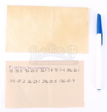 Lot # 90 - S1E07 Broussard: Katie Bowman's Partially Deciphered Note with Envelope and Pen