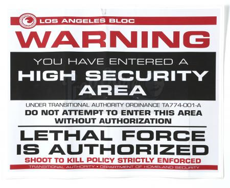 Lot # 144 - All Seasons : High Security Area Sticker Sign