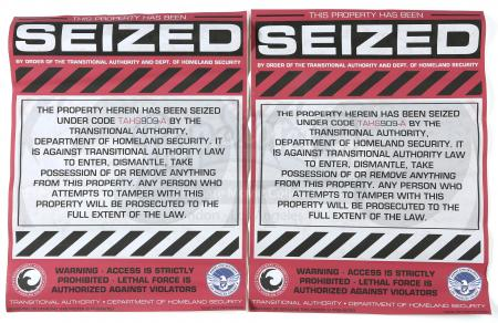 "Lot # 160 - S2E06 Fallout: Two ""Property Seized"" Signs"