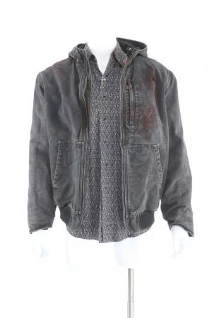 Lot # 75: Gallo's (Manuel Garcia-Rulfo) Distressed Final Shootout Jacket, Shirt, and Jewelry