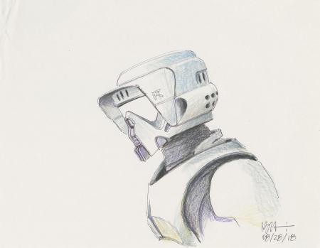 Lot # 1: Scout Trooper Colored Sketch - Bust-up