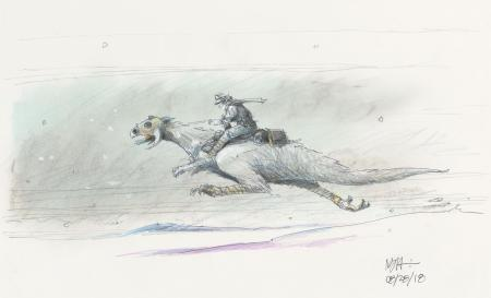 Lot # 3: Luke on Galloping Tauntaun Colored Design Sketch
