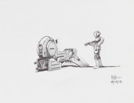 Lot # 4: Alternate Speeder Bike Colored Sketch with Scout Trooper