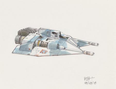 Lot # 6: Rebel Snowspeeder Colored Sketch - Camoflague