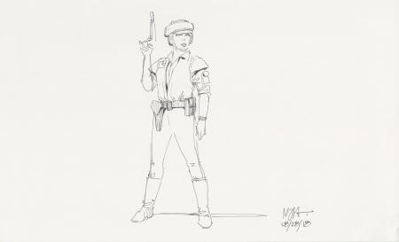 Lot # 7: Princess Leia Costume Sketch - Endor Battle Outfit