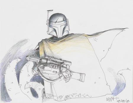 Lot # 12: Boba Fett Colored Sketch - with Cape