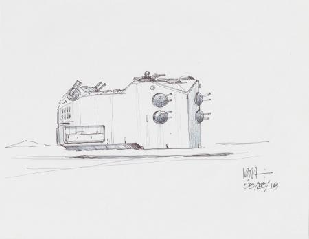 Lot # 13: Hoth Hovering Tank Colored Design Sketch