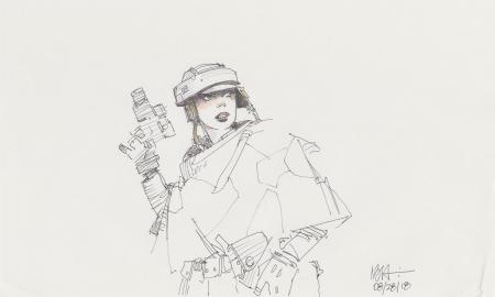 Lot # 14: Princess Leia Colored Costume Sketch - Endor Battle Outfit