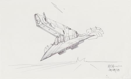 Lot # 15: Boba Fett's Slave I Sketch - Take-off