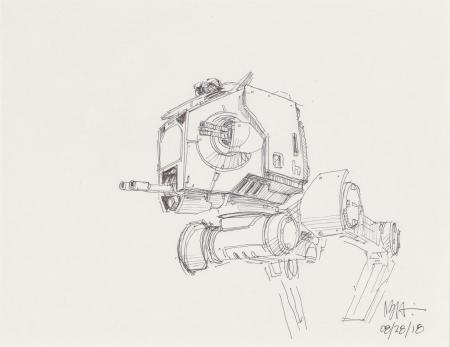 Lot # 17: AT-ST Chicken Walker Cockpit Sketch