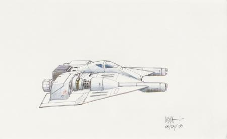 Lot # 19: Rebel Snowspeeder with Single Rounded Cockpit Colored Sketch