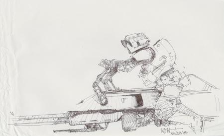 Lot # 20: Speeder Bike with Scout Trooper Design Sketch