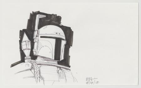 Lot # 24: Boba Fett Sketch - Helmet Study