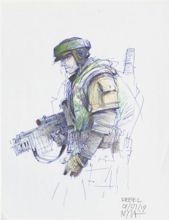 Lot # 25: Rebel Soldier on Endor Colored Costume Sketch