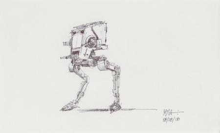 Lot # 26: AT-ST Chicken Walker Sketch
