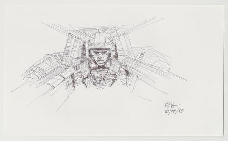 Lot # 27: Luke Skywalker in Snowspeeder Sketch
