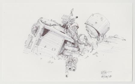 Lot # 28: Downed AT-ST Chicken Walker Sketch - with Ewoks