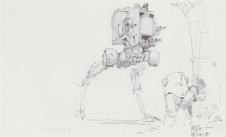 Lot # 29: AT-ST Chicken Walker Sketch - with Ewok