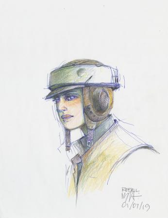 Lot # 32: Rebel Soldier Endor helmet Colored Costume Sketch