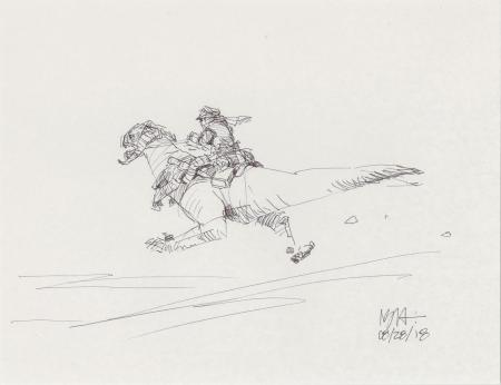 Lot # 34: Luke on Departing Tauntaun Design Sketch