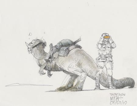 Lot # 35: Luke with Tauntaun Colored Design Sketch