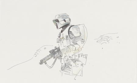 Lot # 36: Scout Trooper Colored Sketch - On Patrol