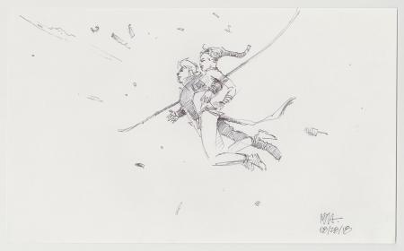 Lot # 37: Luke and Leia Swinigng Sketch