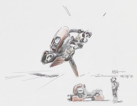 Lot # 38: Alternate Speeder Bike Colored Sketches with Scout Trooper
