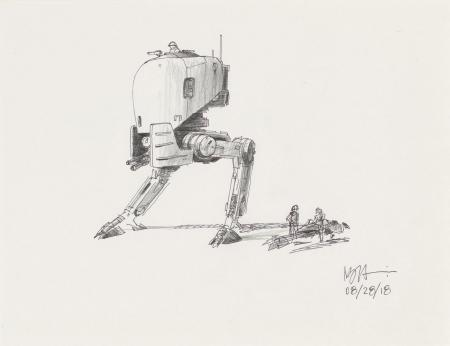 Lot # 39: Two-legged Walker Colored Sketch with Speeder Bike