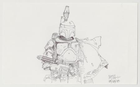 Lot # 41: Boba Fett Sketch - with Blaster
