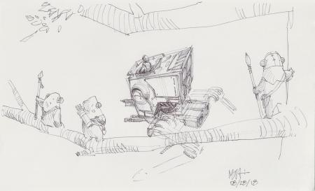 Lot # 42: AT-ST Chicken Walker Sketch - Ewoks observe