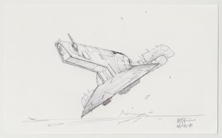 Lot # 45: Boba Fett's Slave I Sketch - Take-off From Ground