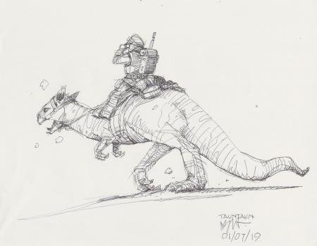 Lot # 48: Luke on Tauntaun Design Sketch
