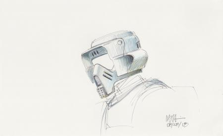 Lot # 50: Scout Trooper Colored Sketch - Helmet Detail