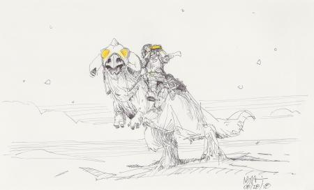 Lot # 51: Luke with Binoculars on Tauntaun Design Sketch